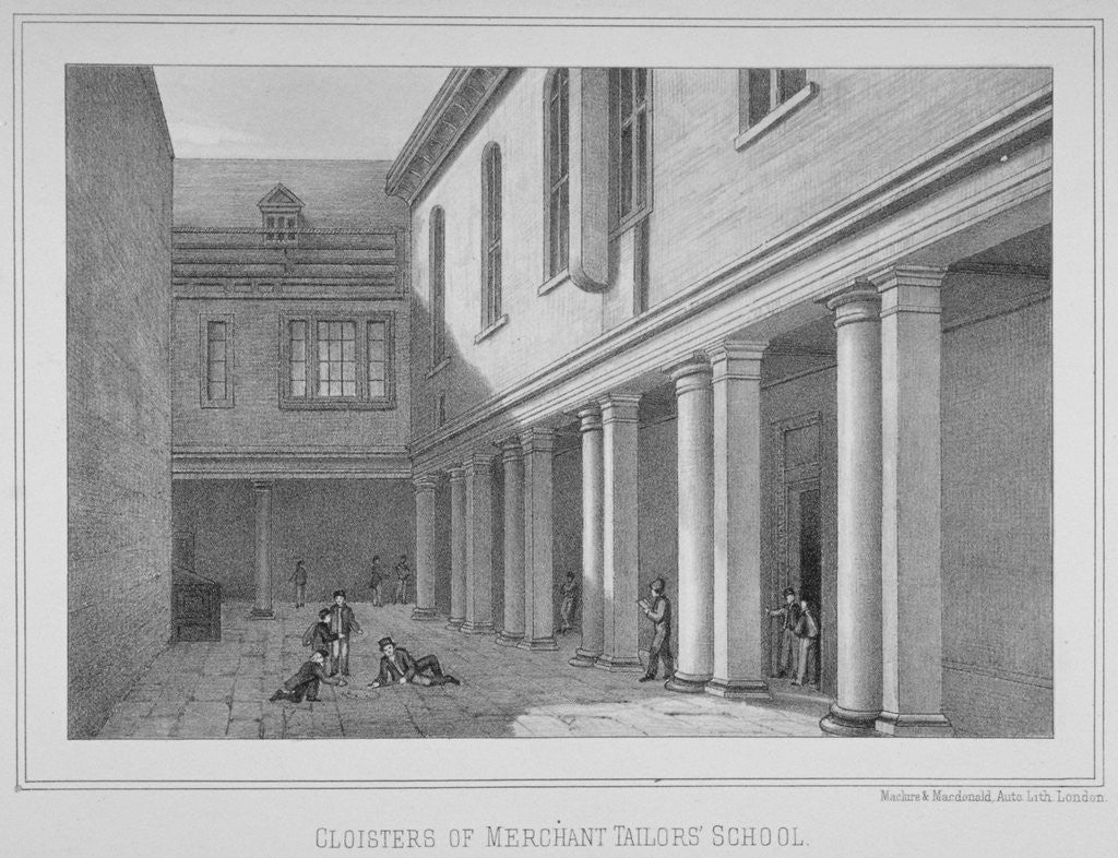 Detail of View of the cloisters of the Merchant Taylors' School, City of London by