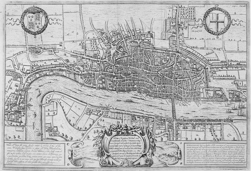 Detail of Map of the City of London and City of Westminster in c1600 by