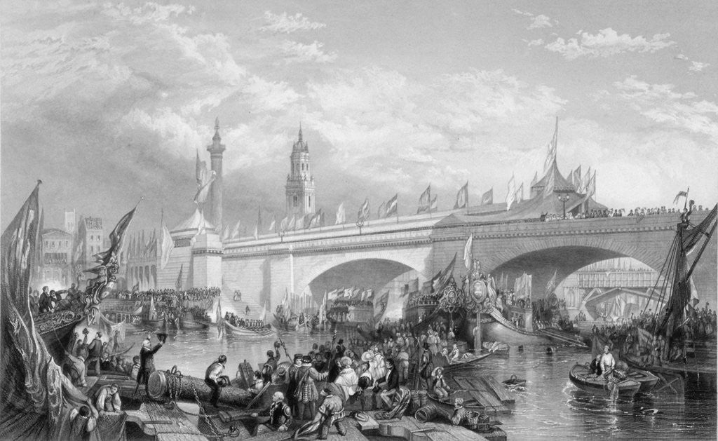 Detail of The opening of London Bridge by King William IV and Queen Adelaide by Anonymous