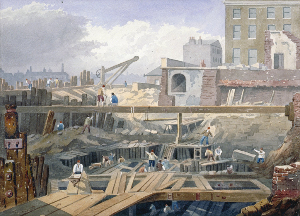 Detail of View of the foundations being dug for the first arch of London Bridge by Anonymous