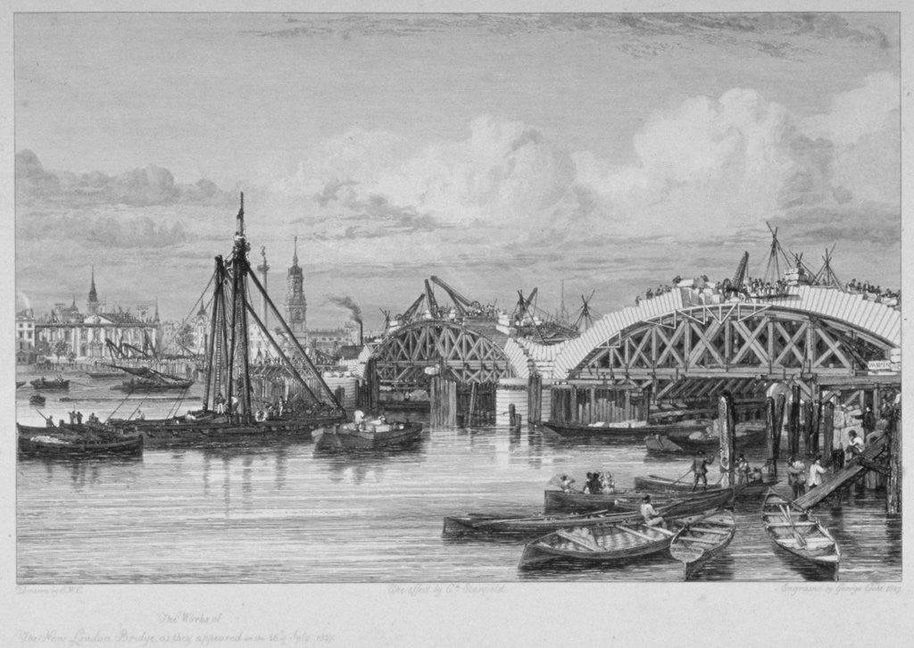 Detail of London Bridge under construction by George Cooke