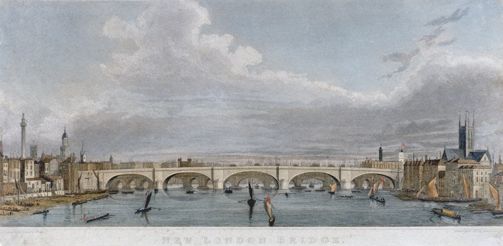 Detail of View of London Bridge from the west with boats on the River Thames by S Rogers