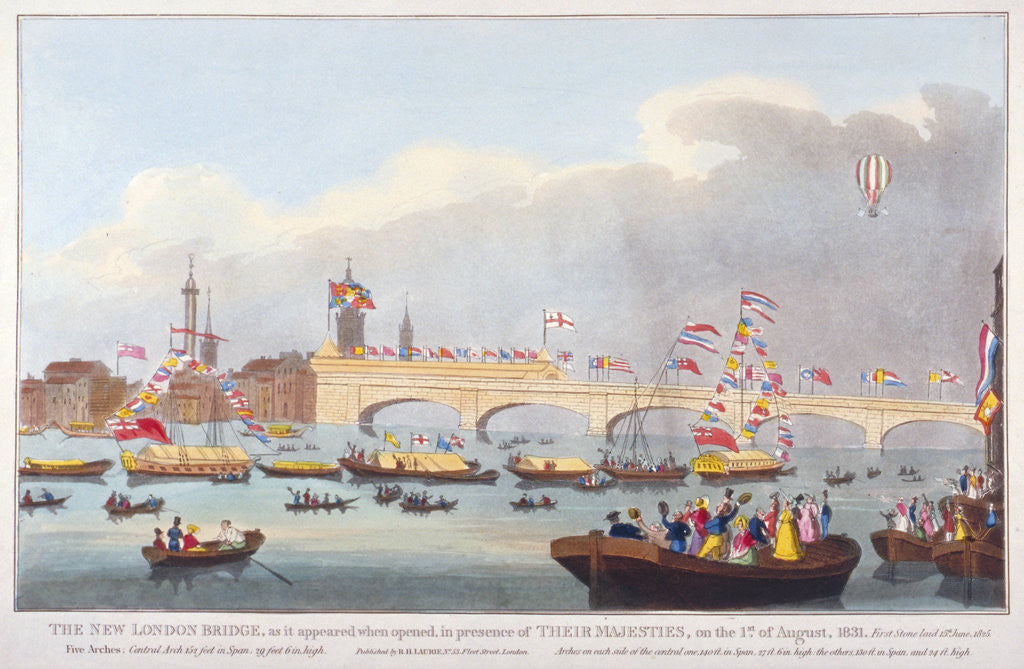 Detail of The opening of London Bridge by King William IV and Queen Adelaide by