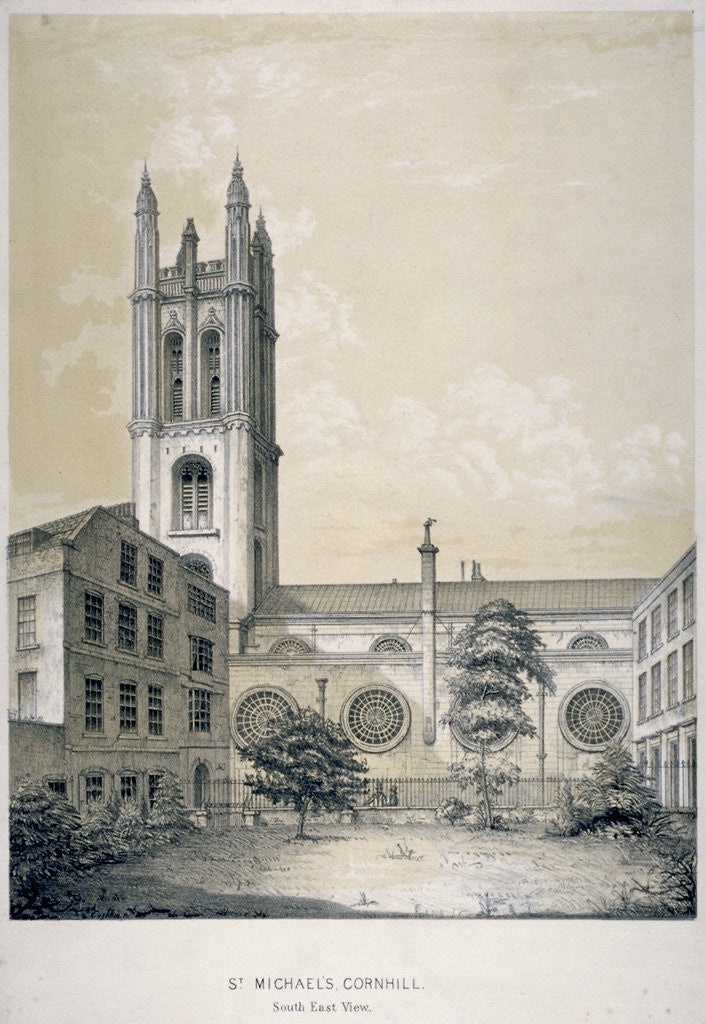 Detail of South-east view of the Church of St Michael, Cornhill, City of London by EJ Dickinson
