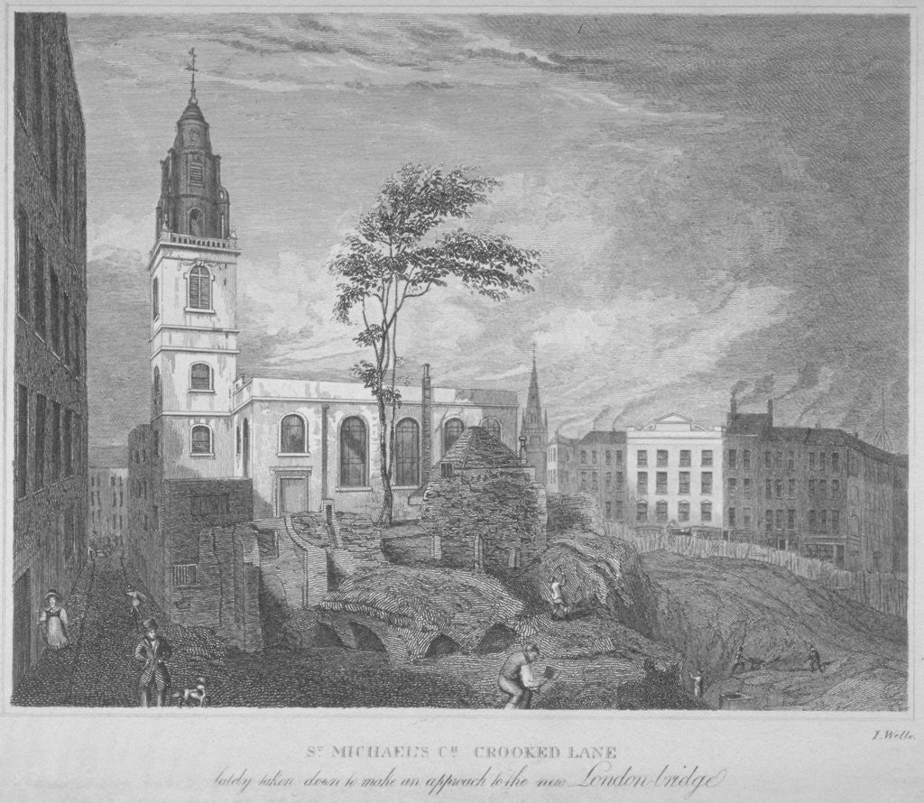 Detail of South-east view of the Church of St Michael, Crooked Lane, City of London by John Wells