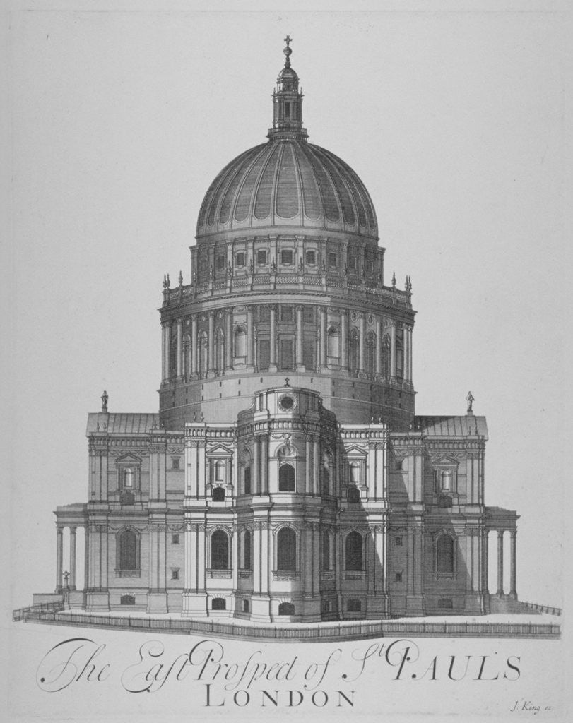 Detail of East view of St Paul's Cathedral, City of London by Anonymous