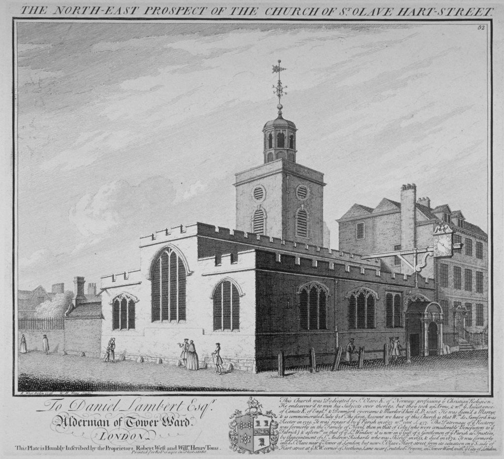 Detail of North-east prospect of the Church of St Olave, Hart Street, City of London by William Henry Toms