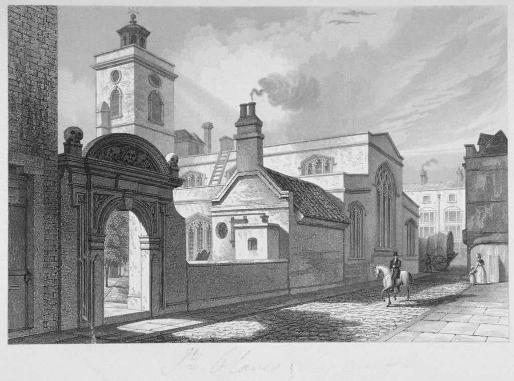 Detail of South-east view of the Church of St Olave, Hart Street, City of London by John Le Keux