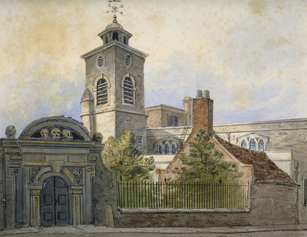 Detail of View of the Church of St Olave, Hart Street, from Seething Lane, City of London by William Pearson