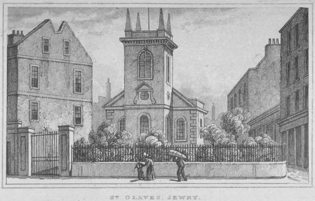 Detail of Church of St Olave Jewry, from Ironmonger Lane, City of London by
