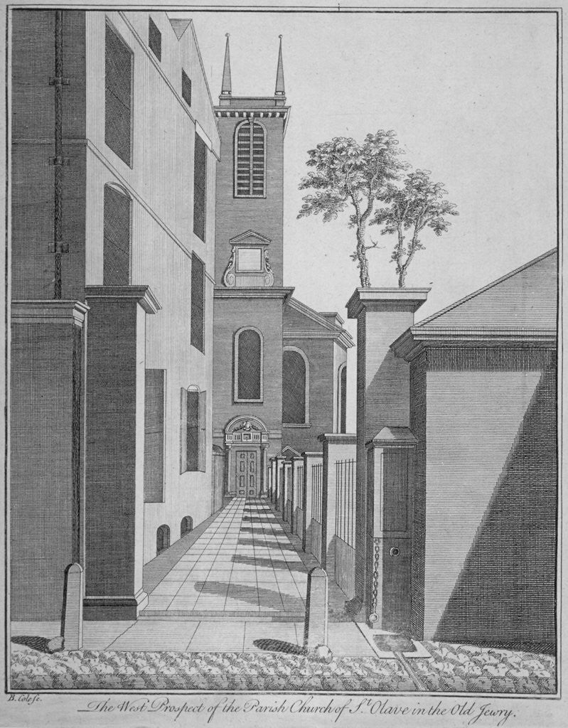 Detail of West prospect of the Church of St Olave Jewry from Ironmonger Lane, City of London by Benjamin Cole