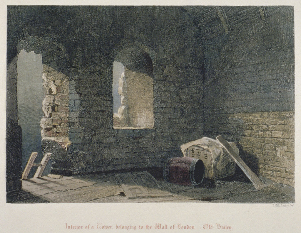 Detail of Interior view of a tower belonging to London Wall at Old Bailey, City of London by John Wykeham Archer