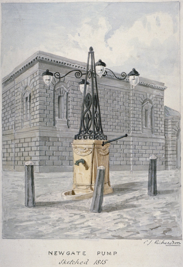 Detail of Newgate Pump, Old Bailey with Newgate Prison in the background, City of London by Charles James Richardson