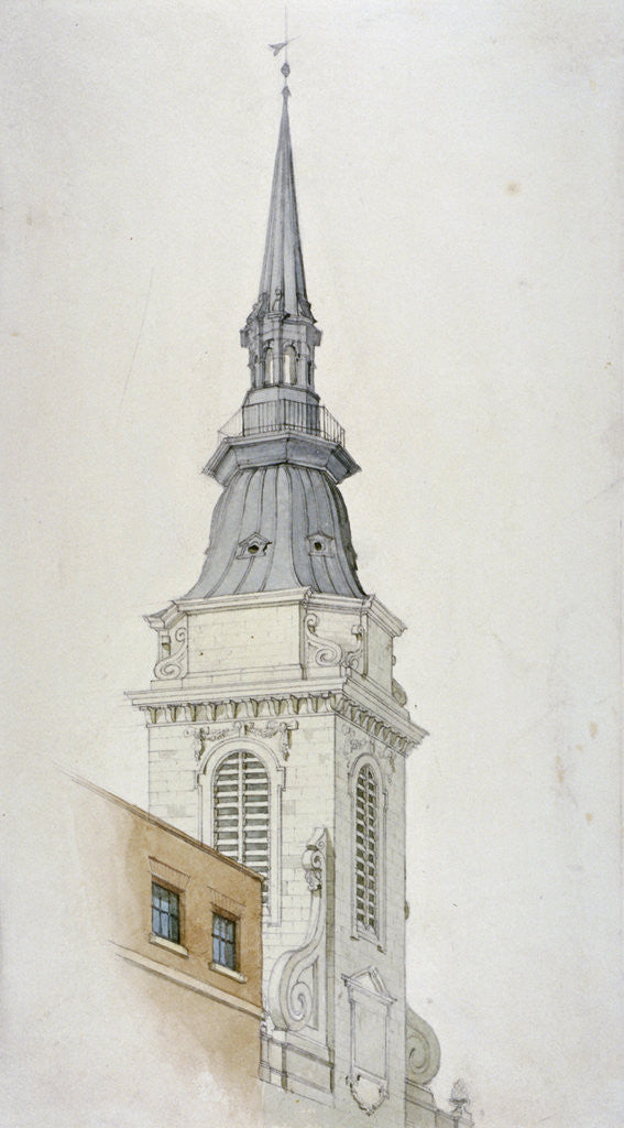 Detail of View of the tower and spire of St Martin within Ludgate, City of London by