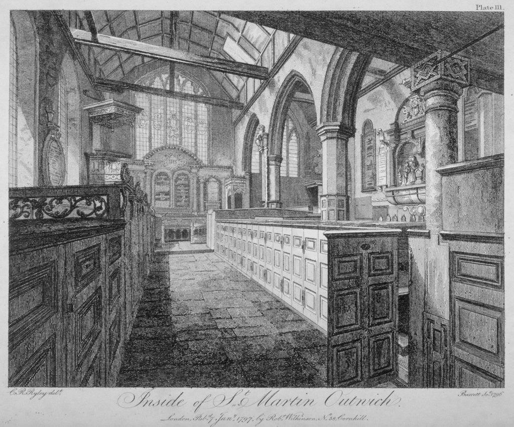 Detail of Interior of the Church of St Martin Outwich, City of London by