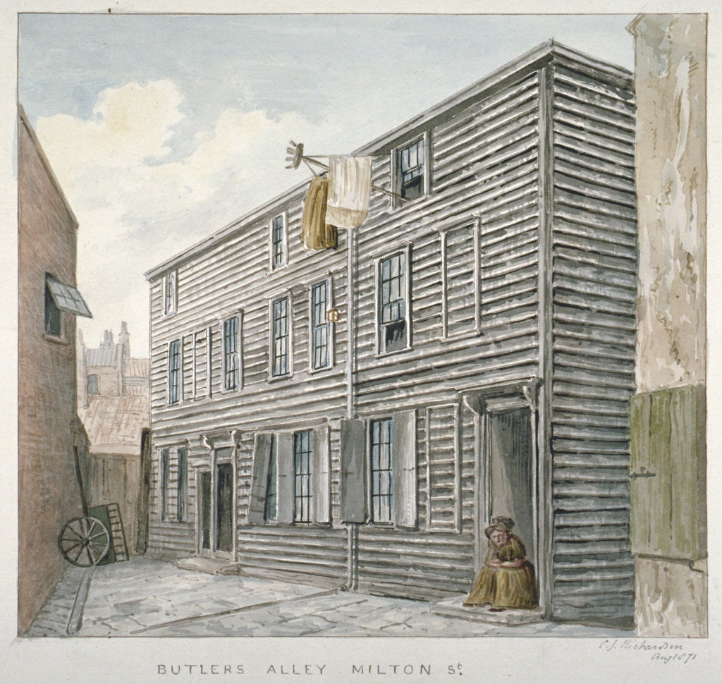 Detail of View of Butler's Alley, Milton Street, City of London by