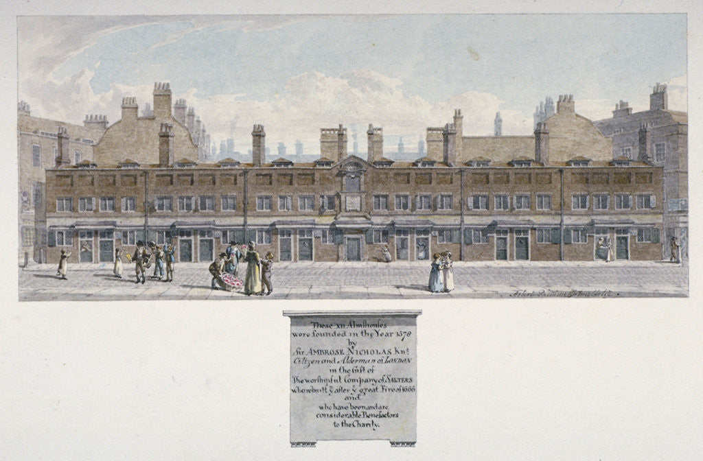 Detail of The Salters' Almshouses in Monkwell Street, City of London by Robert Blemmell Schnebbelie