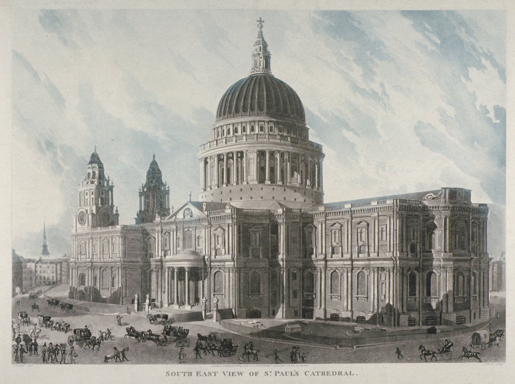 Detail of South-east view of St Paul's Cathedral with figures and carriages outside, City of London by