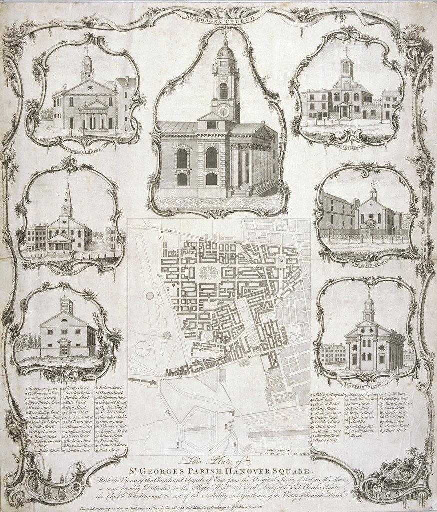 Detail of Map of the parish of St George Hanover Square in the City of Westminster, London by Anonymous