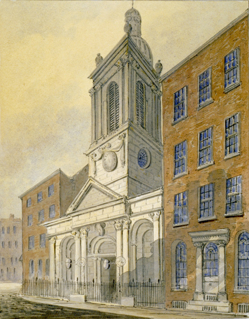 Detail of North-east view of the Church of St Peter-le-Poer and Old Broad Street, City of London by William Pearson