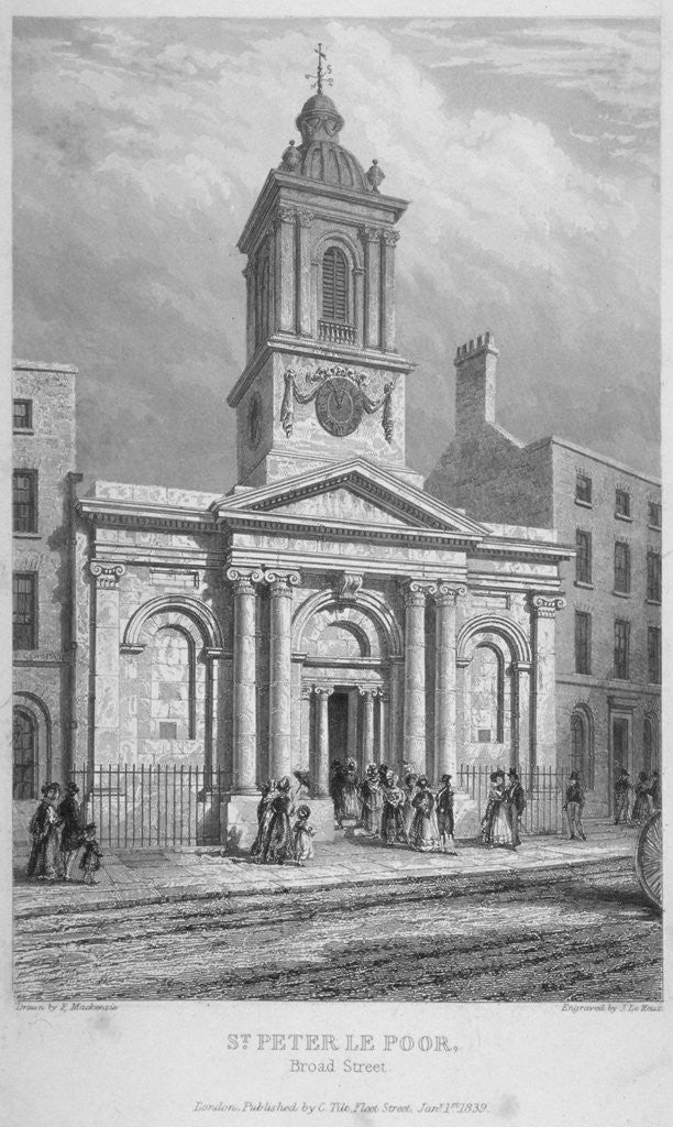 Detail of Church of St Peter-le-Poer with the congregation entering, City of London by