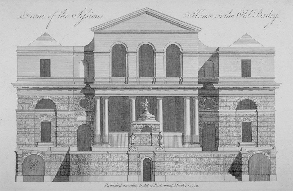 Detail of Front view of the Sessions House, Old Bailey, City of London by Anonymous