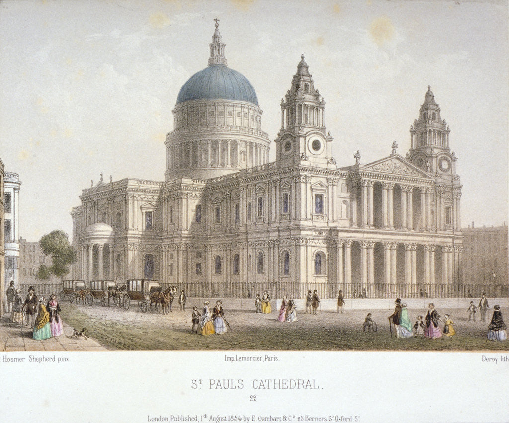 Detail of North-west view of St Paul's Cathedral with figures walking in front, City of London by Sir Christopher Wren