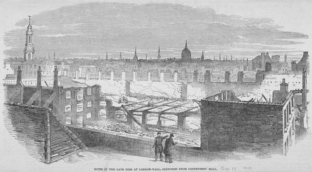 Detail of Ruins at London Wall from Carpenters' Hall as the result of a fire in 1849 by