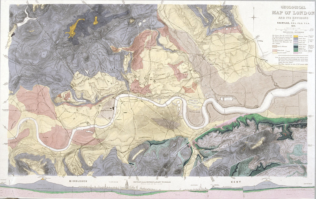 Detail of Geological map of London and the surrounding area by T Walsh