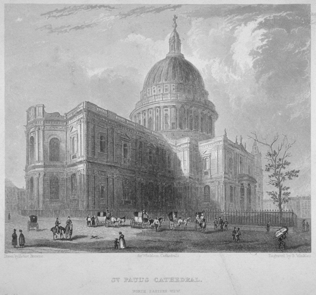 Detail of North-east view of St Paul's Cathedral, City of London by
