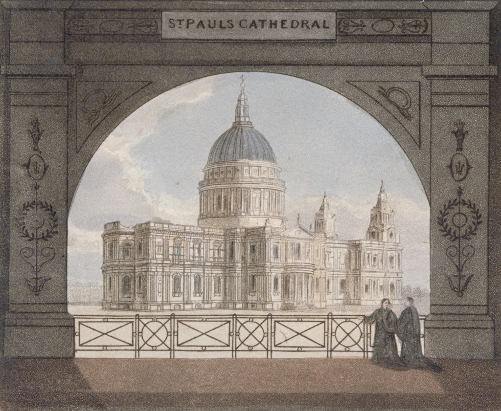 Detail of North-east view of St Paul's Cathedral through an archway, City of London by Anonymous