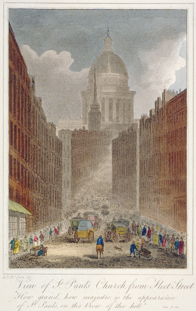 Detail of View along Fleet Street towards St Paul's Cathedral, City of London by Anonymous