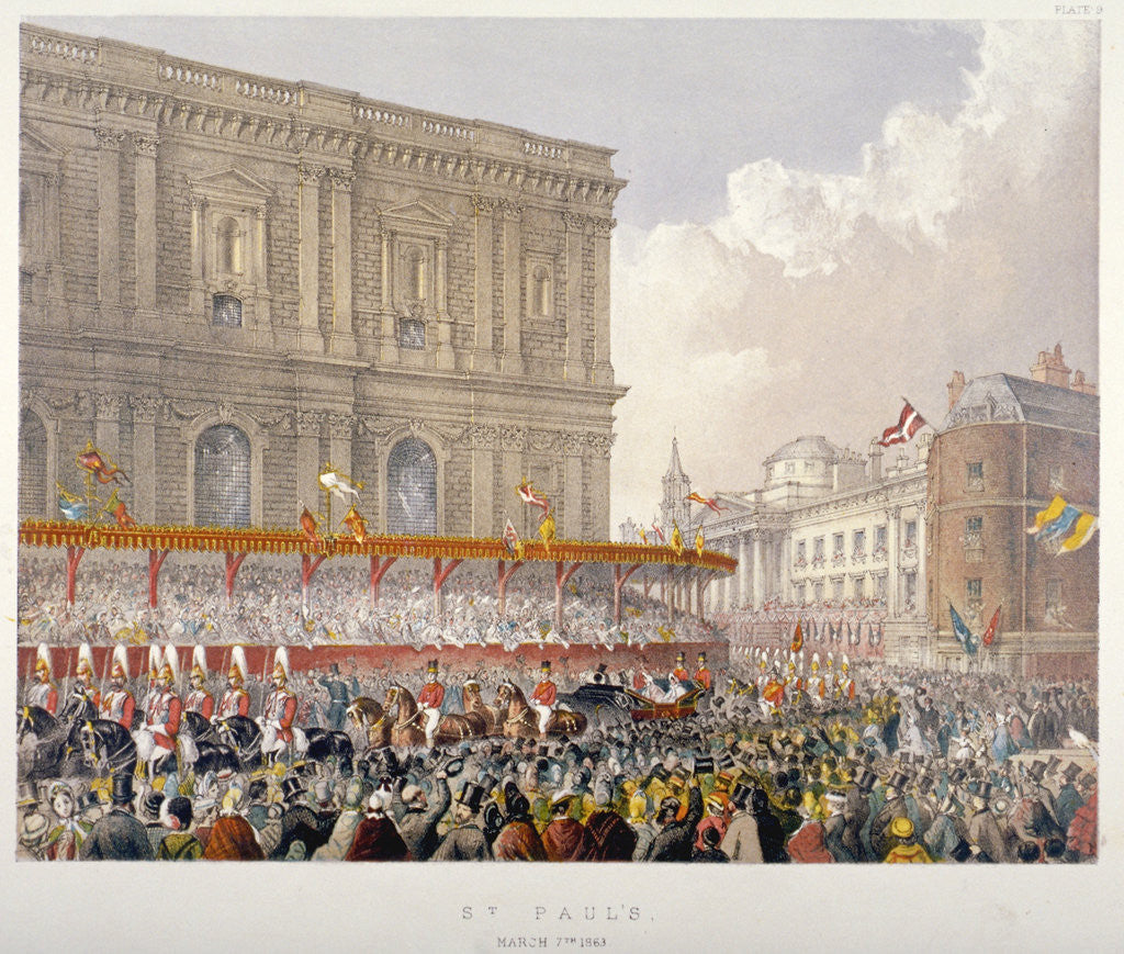 Detail of Royal procession passing the east end of St Paul's Cathedral, City of London by