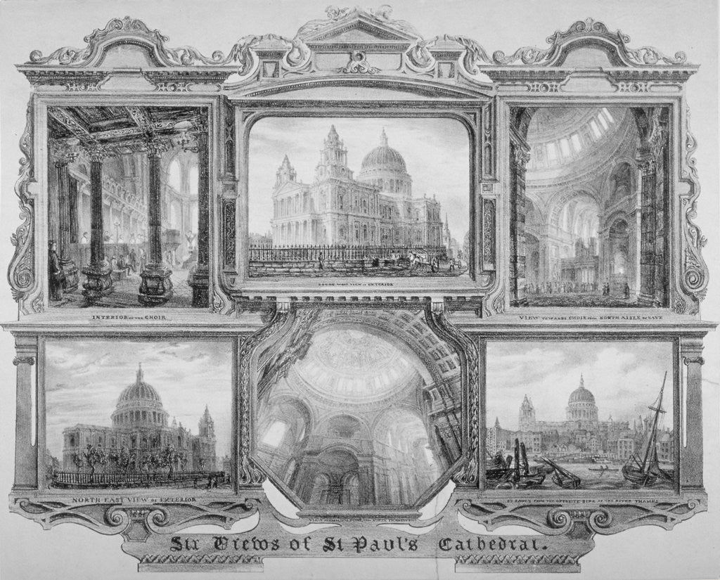 Detail of Six views of St Paul's Cathedral, City of London by Anonymous