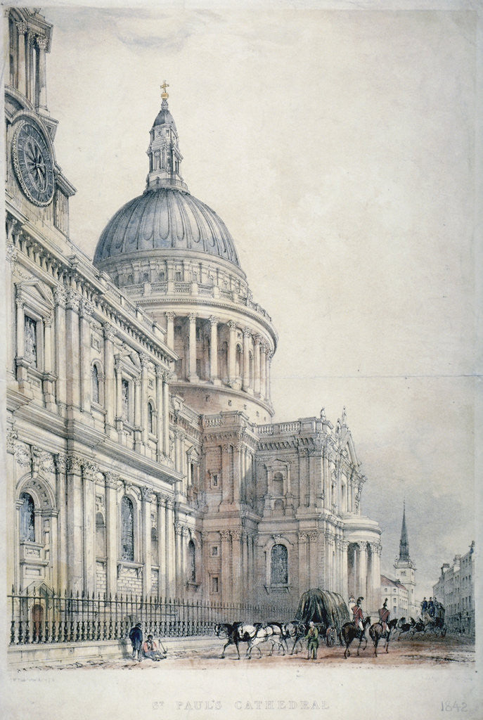 Detail of South-west view of St Paul's Cathedral from St Paul's Churchyard, City of London by