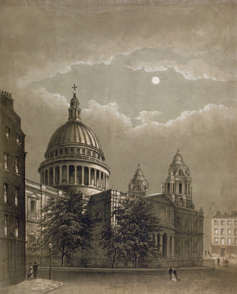 Detail of North-east view of St Paul's Cathedral by moonlight, City of London by Anonymous