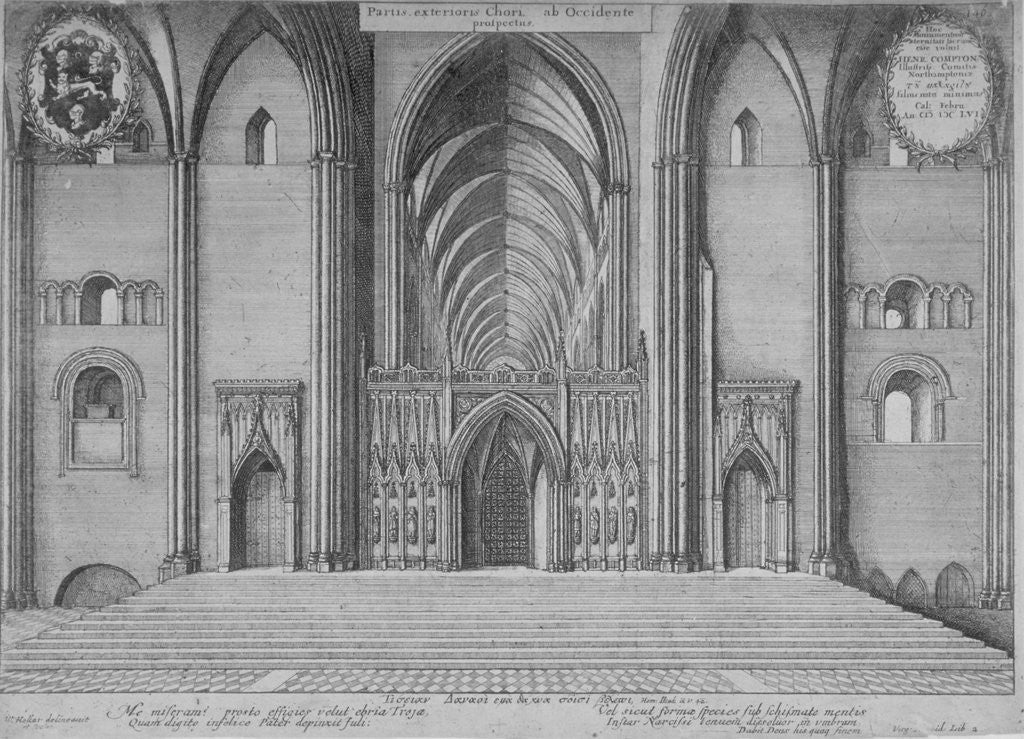 Detail of Interior view of the choir of the old St Paul's Cathedral from the west, City of London by Wenceslaus Hollar