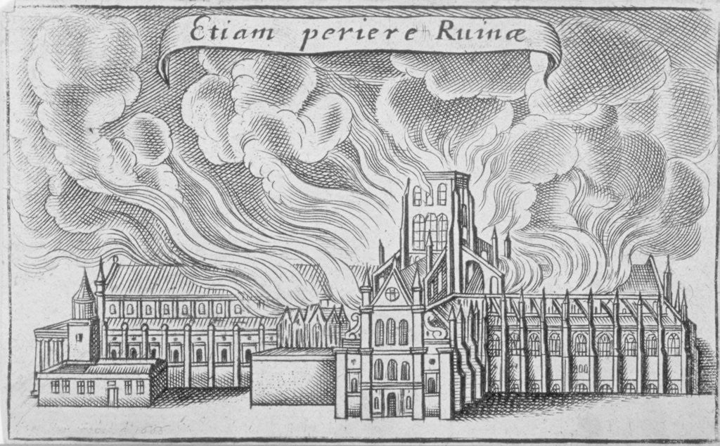 Detail of Old St Paul's Cathedral burning in the Great Fire of London by Wenceslaus Hollar