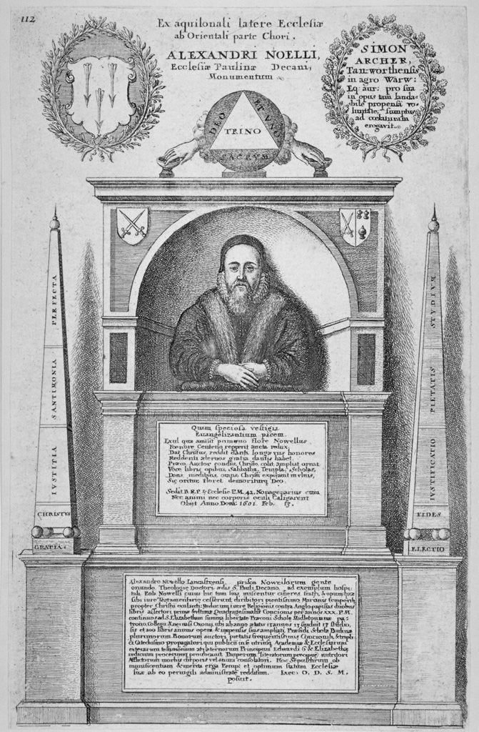 Detail of Monument of Alexander Noel in the old St Paul's Cathedral, City of London by Wenceslaus Hollar