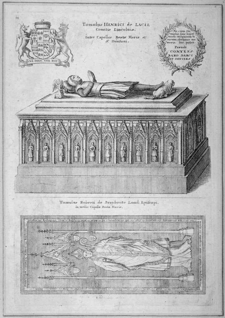 Detail of Monument of Henry de Lacy, Earl of Lincoln, in the old St Paul's Cathedral, City of London by Wenceslaus Hollar