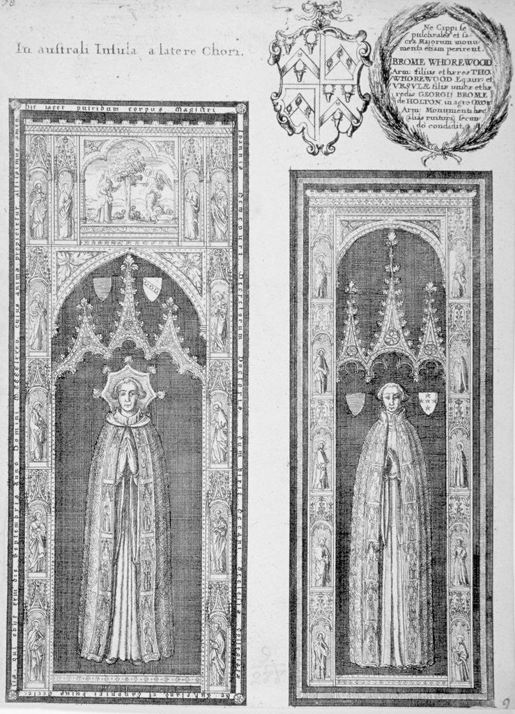 Detail of Brasses of John Newcourt and Brome Whorewood in old St Paul's Cathedral, City of London by