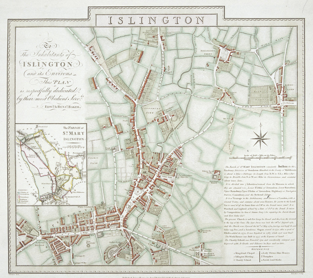Detail of Map of the parish of St Mary, Islington, London by Benjamin Baker