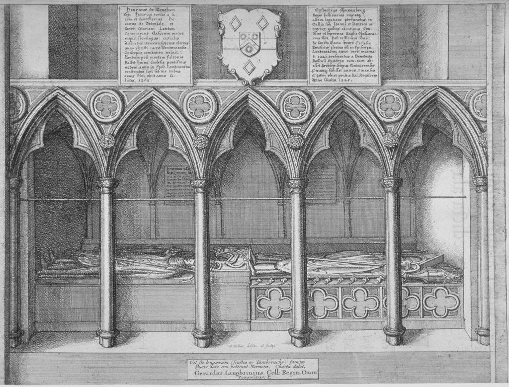 Detail of Tombs of two Bishops of London in old St Paul's Cathedral, City of London by