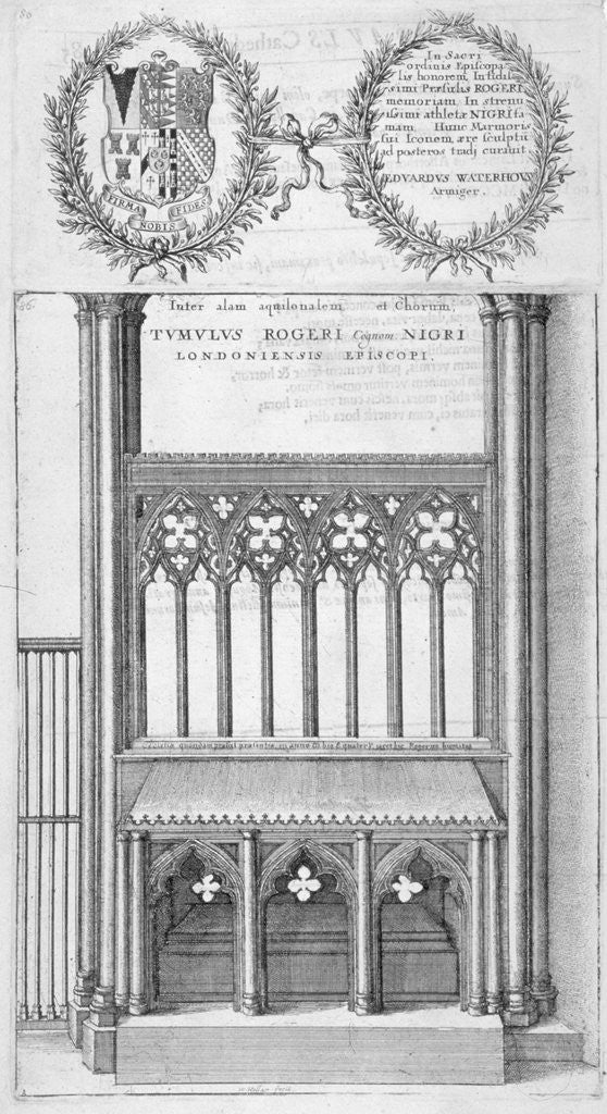 Detail of Tomb of Roger Niger, Bishop of London, in old St Paul's Cathedral by Wenceslaus Hollar