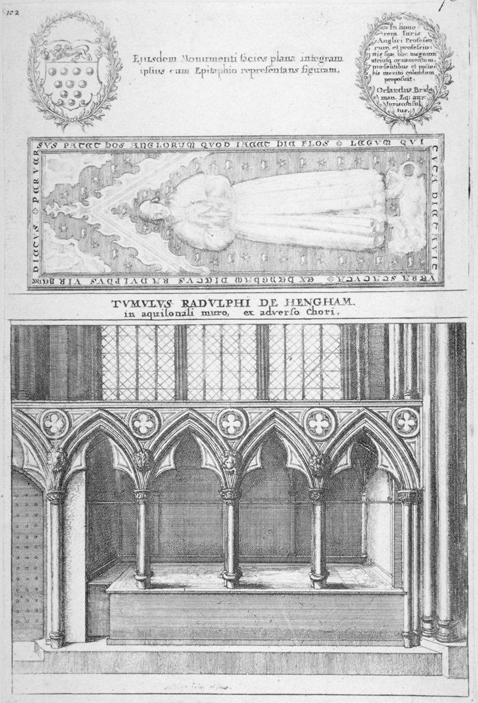 Detail of Tomb of Sir Ralph de Hengham in old St Paul's Cathedral, City of London by Wenceslaus Hollar