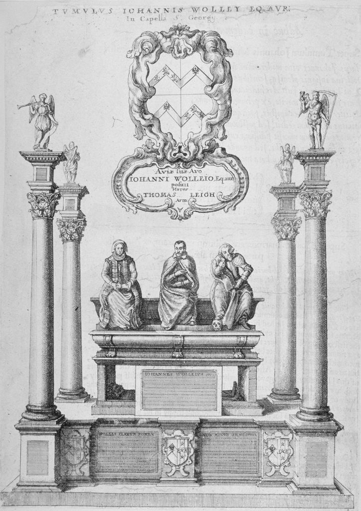 Detail of Monument of Sir John Woolley in old St Paul's Cathedral, City of London by Wenceslaus Hollar