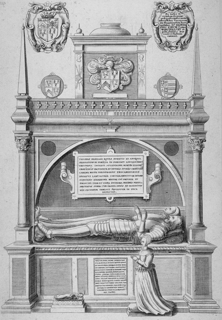 Detail of Monument of Sir Paul Heneage in old St Paul's Cathedral, City of London by Wenceslaus Hollar