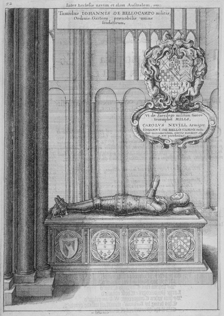 Detail of Tomb of John Beauchamp in old St Paul's Cathedral, City of London by Wenceslaus Hollar