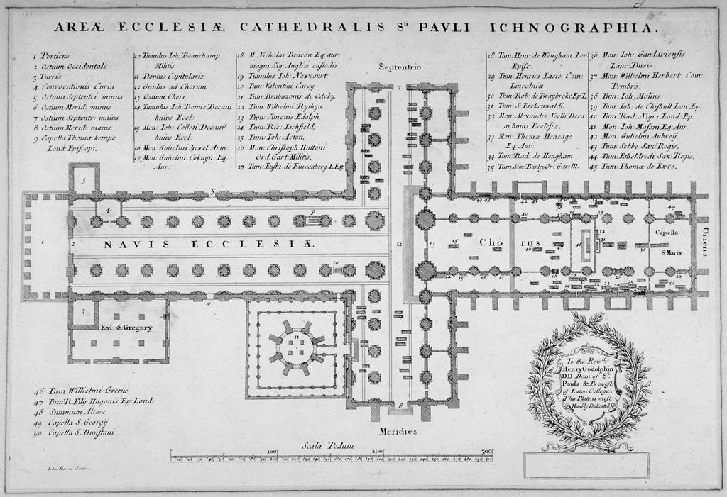 Detail of Plan of the old St Paul's Cathedral, City of London by J Harris