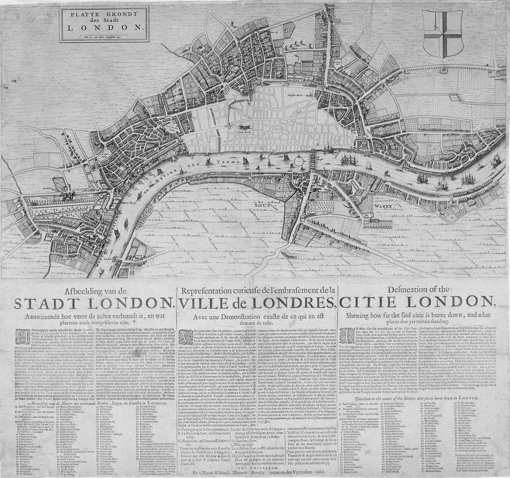 Detail of Map of London showing the destruction caused by the Great Fire by Anonymous